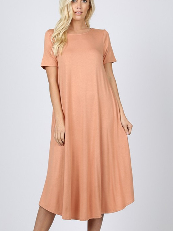 Summer Special T Shirt Dress Camel