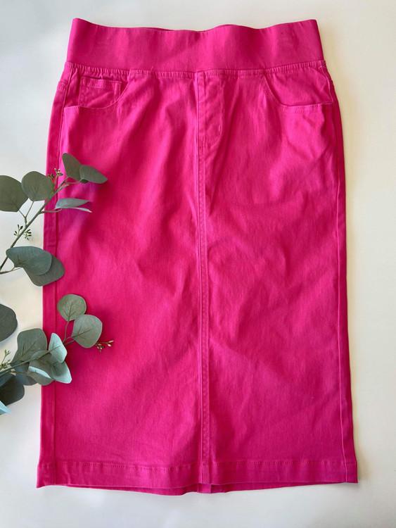 Colored Denim Elastic Waist Skirt *Pink*
