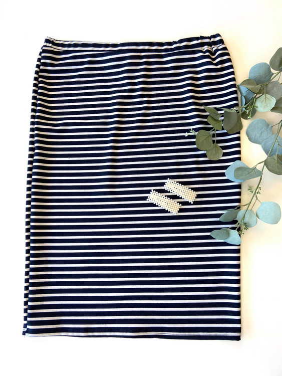 Klassy Girl Original Pencil Skirt Navy/White Stripe