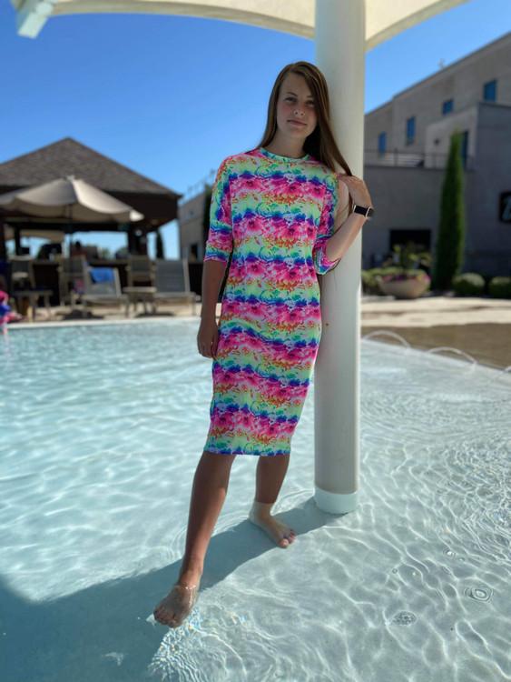 Modest Dolman Style Swim Dress Floral Tie Dye