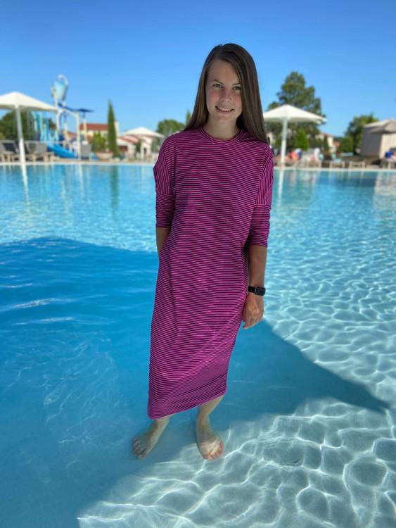 Modest Dolman Style Swim Dress Pink/Navy Stripe