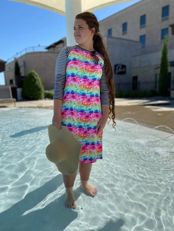 Modest Baseball Style Swim Dress Tie Dye Stripe