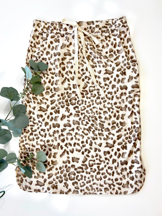 Animal Print Drawstring Skirt *Oatmeal*