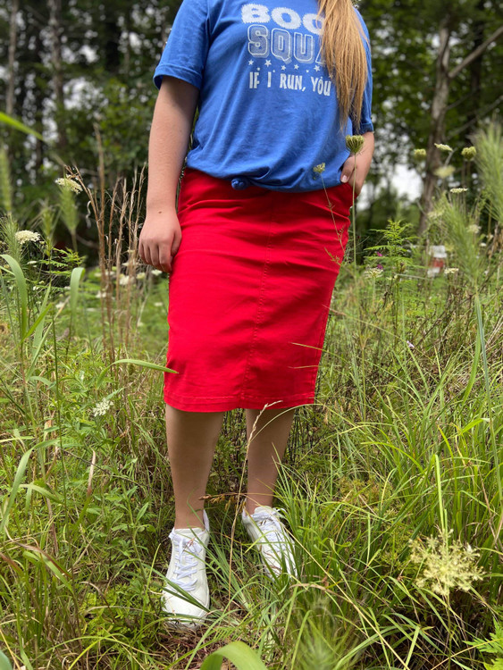 Colored Denim Elastic Waist Skirt *Red*