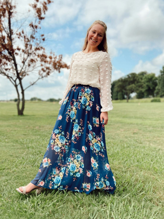 Lillie Floral Chiffon Skirt *Navy*
