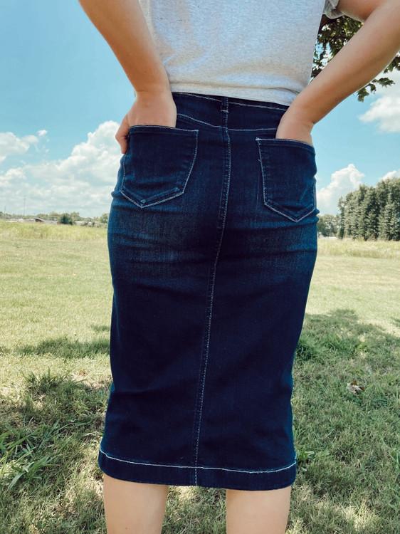 Brandy Embroidered Denim Skirt *Dark Wash*