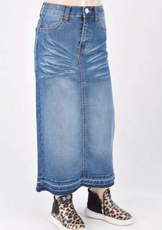 Morgan *Girls* Long Modest Denim Skirt *Indigo Wash*