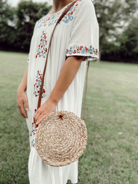 Boho Round Woven Shoulder Bag