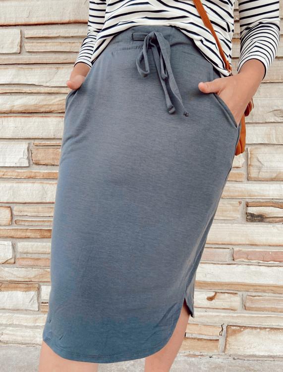 Amelia Drawstring Skirt *Ash Grey*