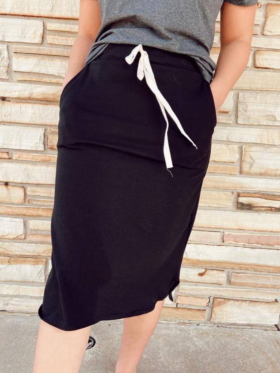 Drawstring Sport Skirt *Black*
