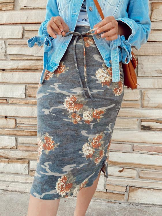 Drawstring Sport Skirt *Floral Camo*