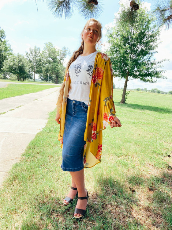 Jasmine Floral Bell Sleeve Kimono *Yellow*