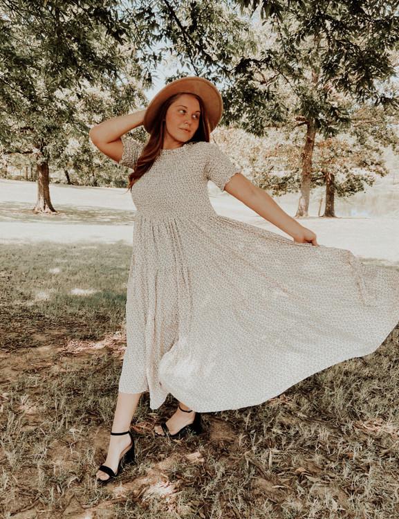 Eliza Floral Smocked Twirl Dress *Ivory*