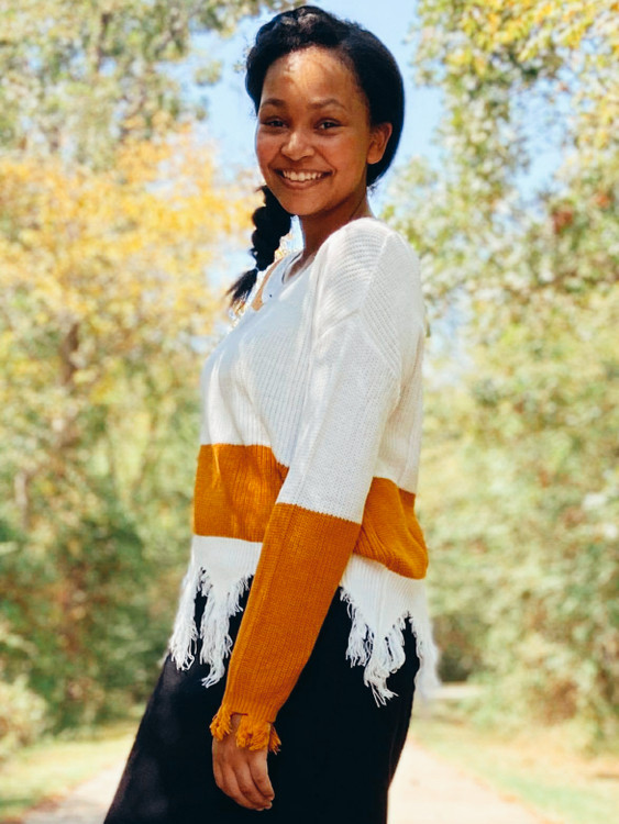 Jessa Mustard Stripe Distressed Sweater