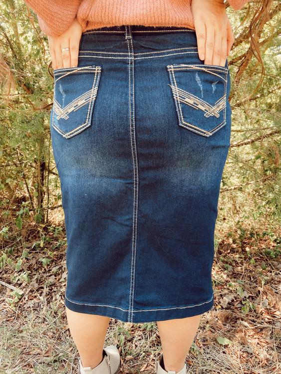 Hayden Denim Skirt Distressed