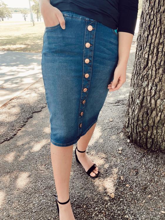 Ella Button Denim Skirt *Vintage Wash*