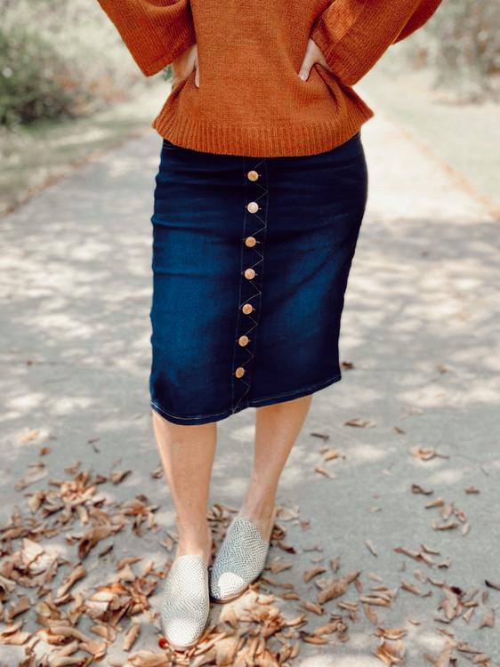 Ella Button Denim Skirt *Dark Wash*