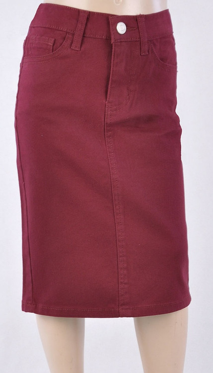 Colored Denim Skirt Burgundy *Girls*
