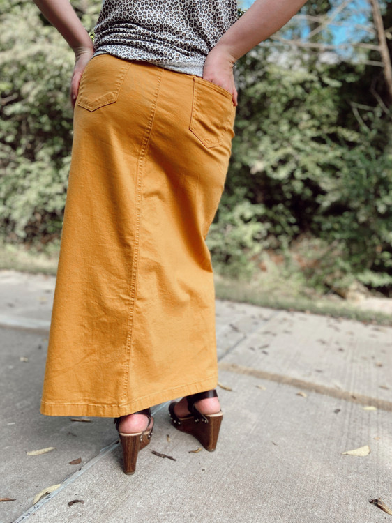 Colored Denim Maxi Length Skirt Mustard