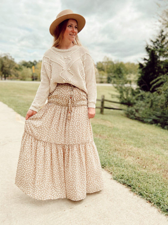 Dotted Tiered Maxi Skirt *Taupe*
