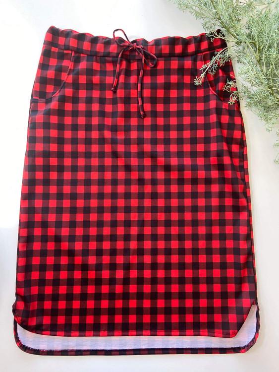 Klassy Girl Drawstring Skirt Red/Black Small Check Plaid