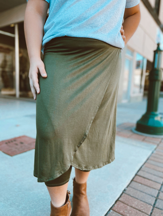 Wrapped Modest Athletic Skirt Soft Knit  *Olive*