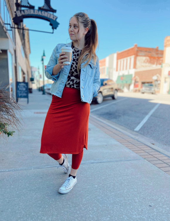 Athletic Skirt With Ankle Leggings *Rust*