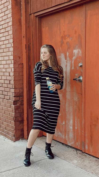 Show Your Stripes Dress *Black/Ivory*