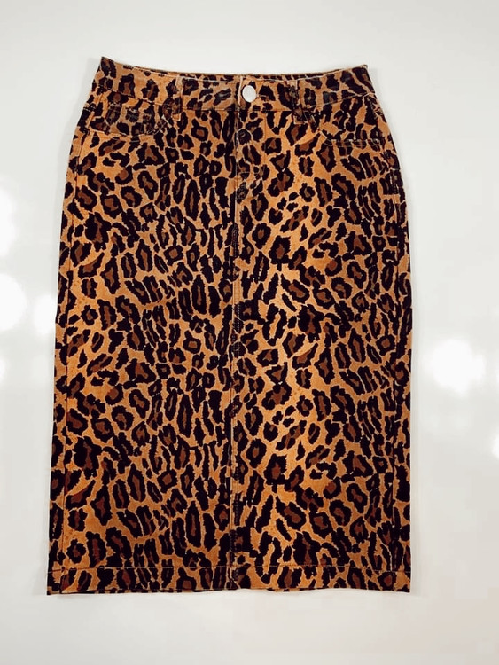 Colored Denim Skirt Animal Print  *Womens*