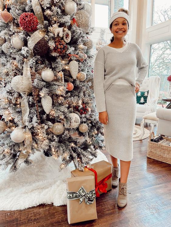 Snowy Days Sweater Skirt *Grey Stripe*