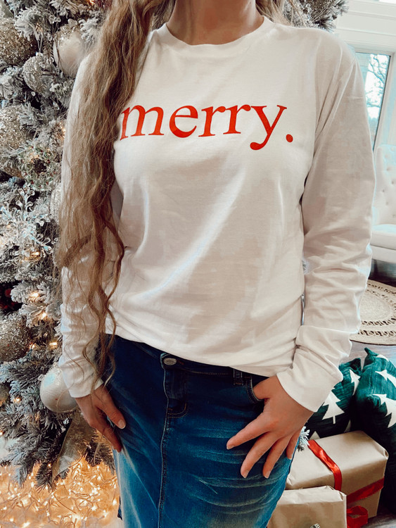 Merry White Long Sleeve Graphic Tee *Final Sale*