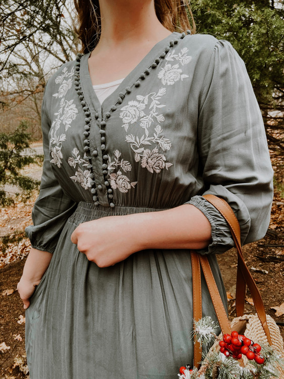 Ellen Embroidered Pompom Dress *Evergreen*