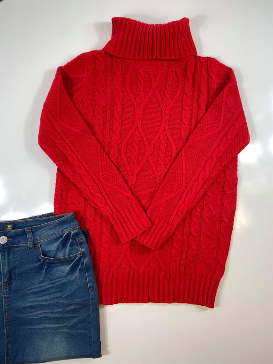 Cozy Cable Knit Turtleneck Sweater *Red*