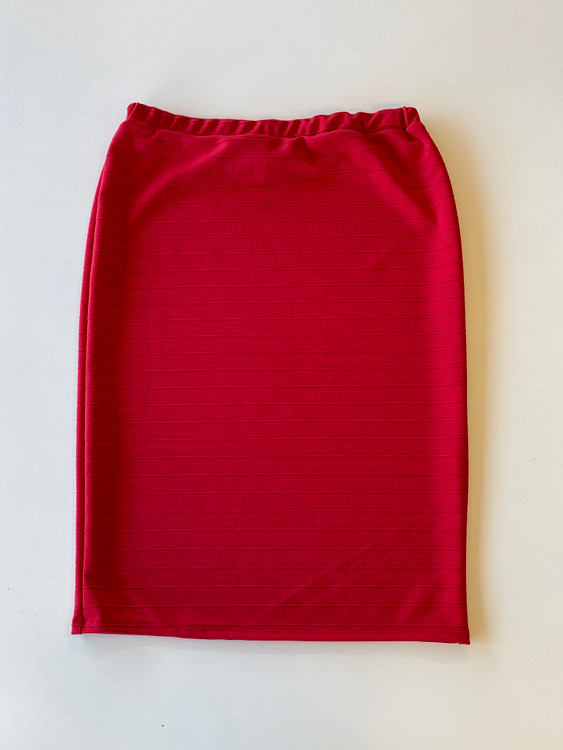 Klassy Girl Original Pencil Skirt Jacquard Stripe *Red*