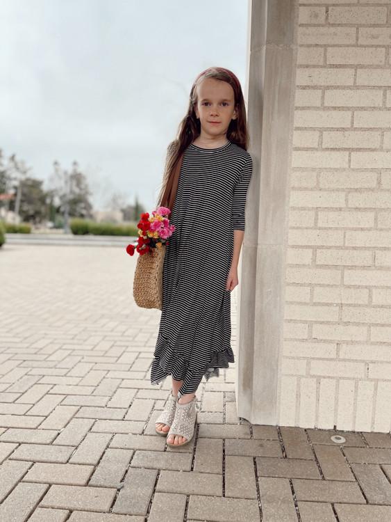 Willow Swing Dress Black/White Stripe *Girls*