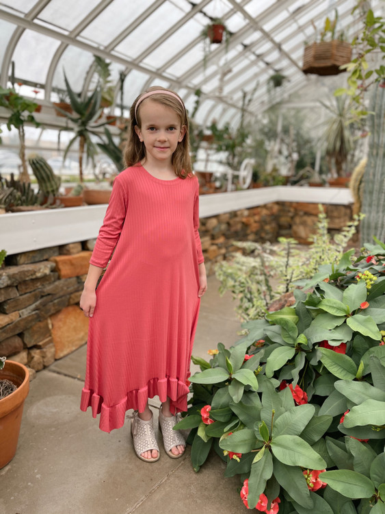 Willow Swing Dress Coral Ribbed *Girls*