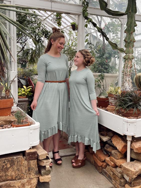 Willow Swing Dress Green/White Stripe *Girls*