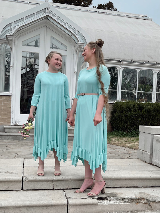Willow Swing Dress Aqua Ribbed *Girls*