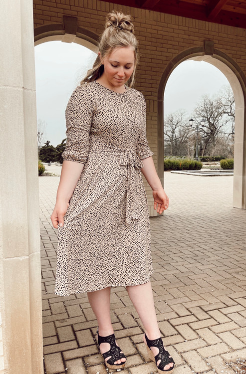 Payton Taupe Cheetah Midi Dress