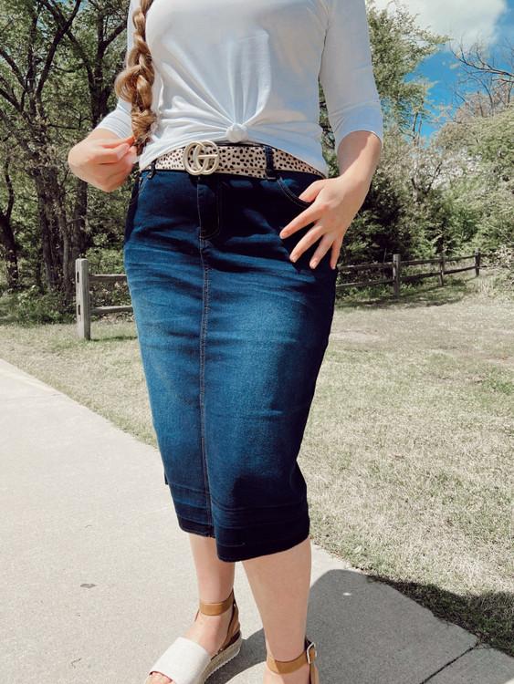 Hailey Denim Skirt *Dark Indigo*