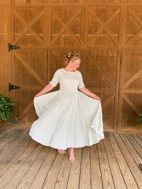 Eliza Floral Smocked Twirl Dress *Sage*