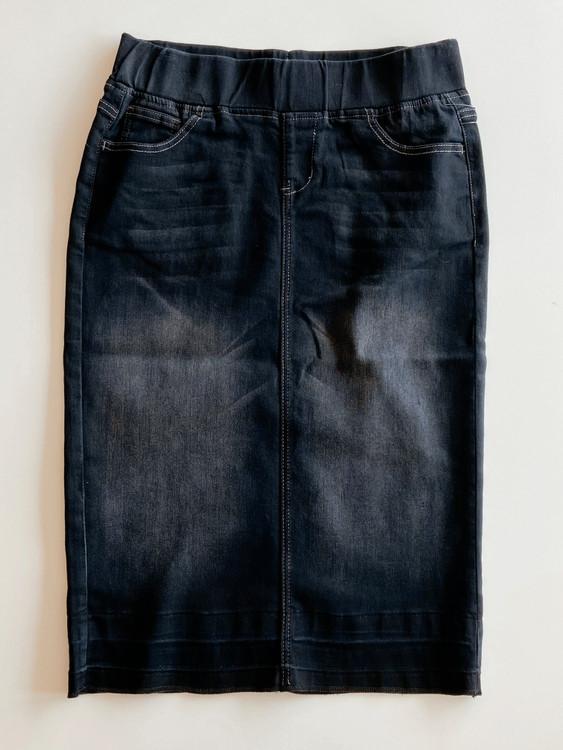 Maddison Elastic Waist Denim Skirt  *Black Wash*
