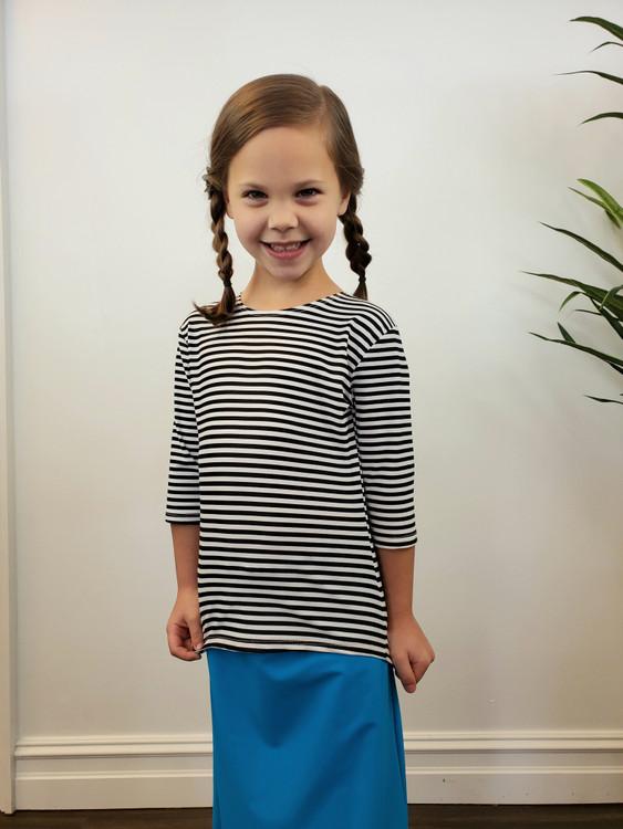 Girl's Modest Swim Top Black Stripe Final Sale