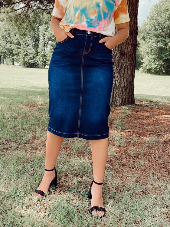 Bridget Whiskered Denim Skirt Dark Wash
