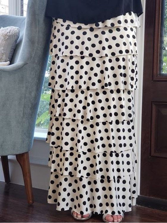 7 Layer Ruffle Maxi Skirt White Polka Dot