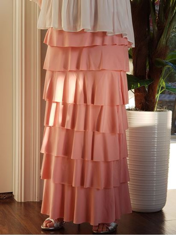 7 Layer Ruffle Maxi Skirt Perfect Pink (Final Sale)