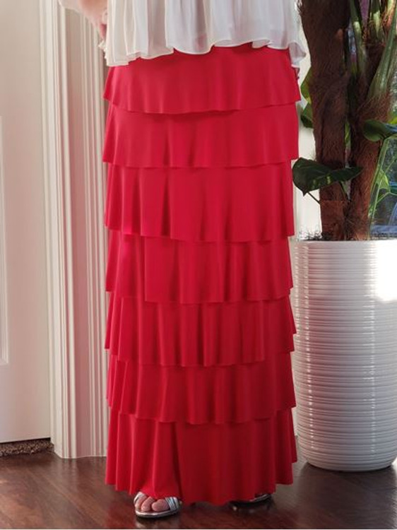 7 Layer Ruffle Maxi Skirt Candy Apple