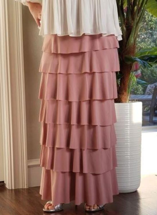 7 Layer Ruffle Maxi Skirt Antique Blush