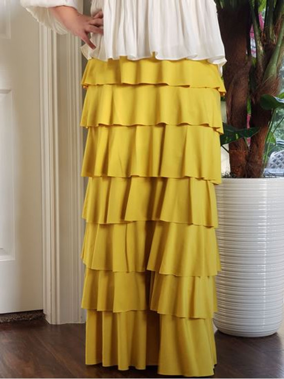 7 Layer Ruffle Maxi Skirt Mustard