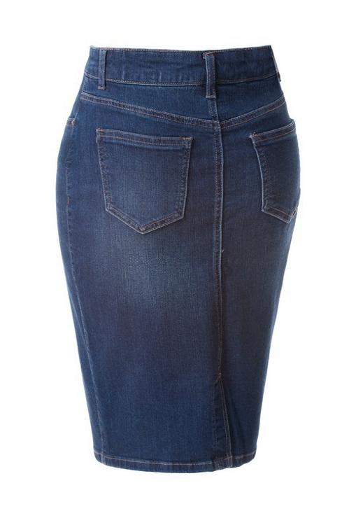 Basic Denim Skirt Dark Wash